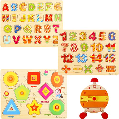 Wooden Peg Puzzles for Toddlers – (Pack of 3 with Stackable Learning Clock) Educational Preschool Puzzles for Toddlers 1 2 3 Year Old Kids Boys Girls Babies 12 18 36 Months Children Math Learning Set