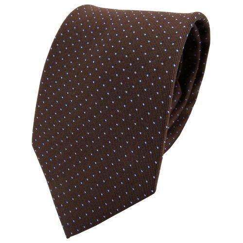 TigerTie diseñador corbata de seda - marrón azul claro lunares