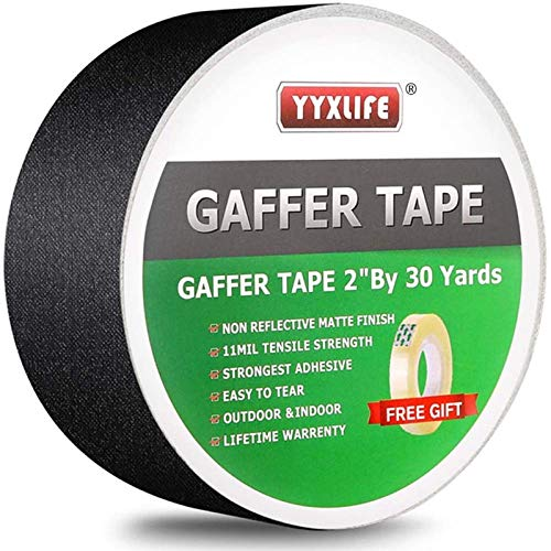 Premium Grade Gaffers Tape, 2 Inch X 30 Yards, Black Heavy Duty Non-Reflective Matte No Residue Gaff Main Stage Tape,Electrical Tape,Duct Tape for Photographers,Waterproof Gaffer Tape