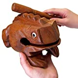 Deluxe JUMBO 8' Wood Frog Guiro Rasp - Musical Instrument Tone Block by World Percussion USA