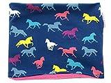 Kleine Könige Loop Schal Kinder Mädchen bis 8 Jahre · Modell Pferde Horses Glitzer · Innen Fleece Pink · Made in Germany