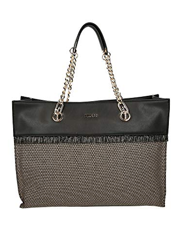 Borsa Liu-jo shopping bag Tote L Creativa ecopelle nero/tessuto