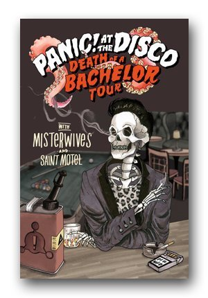 Panic at The Disco Poster - 2017 Death of a Bachelor Tour Admat 12x18 inch Print frameless art gift
