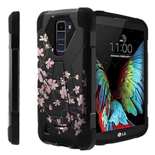 Untouchble Compatible with [ LG K10 (2016), LG Premier LTE Case] Kickstand Case Shock Absorbing Drop Protection Dual Layer Case - Pink Cherry Blossoms