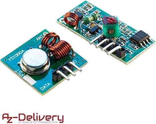AZDelivery 433 MHz Funk - Sende und Empfänger Modul Set für Raspberry und Arduino Wireless Transmitter Receiver mit gratis eBook!