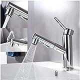 rubinetto bagno estraibile, miscelatore lavabo bagno con doccetta 3 flow modes, rubinetto bagno lavabo, della cucina, valvola in ceramica, ottone cromato