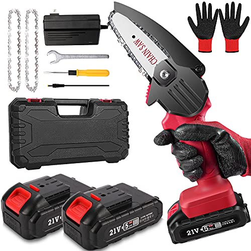 Mini Chainsaw, Cordless Portable Electric Chainsaw with 2 Battery and Chain, 4-Inch Handheld Pruning Shears Chainsaw for Tree Branch Wood Cutting