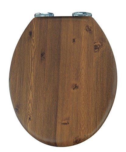 AWD Hochwertiger Schöner WC Sitz Deckel TOILETTENSITZ Landhaus Style KLODECKEL in Holzoptik MIT ABSENKAUTOMATIK-Brauntöne aus MDF-Holz
