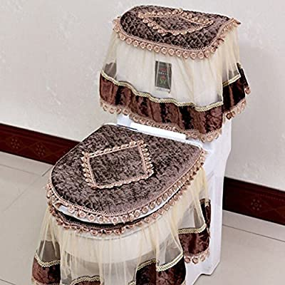 Etbotu Toilet Seat Cover Set,Flannel Cashmere Lace Printed Home Decoration,3Pcs-Water Tank Cover+Toilet Cover Seat+Toilet Seat