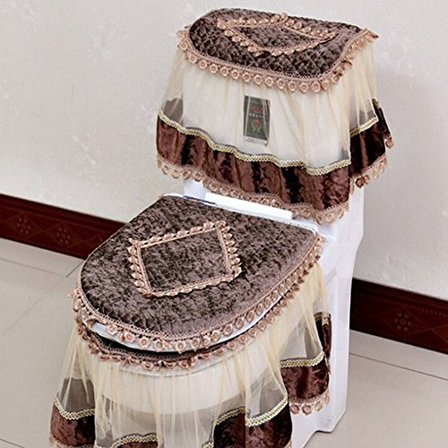 Etbotu Toilet Seat Cover Set,Flannel Cashmere Lace Printed Home Decoration,3Pcs-Water Tank Cover+Toilet Cover Seat+Toilet Seat