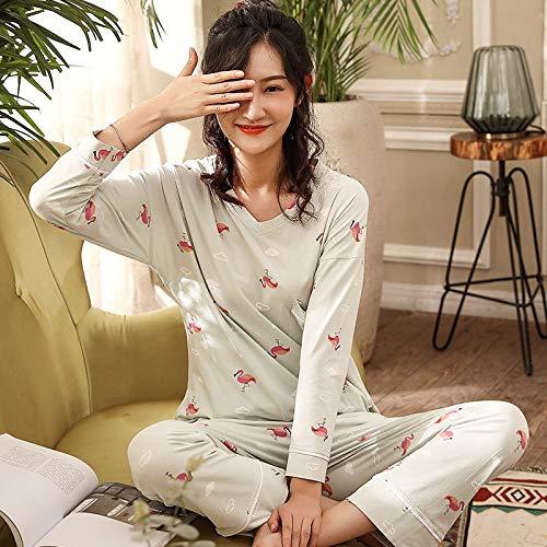 ASDWA Damen Zweiteiliger Schlafanzug,Damen Langarm Tops Und Hosen Pjs Set Flamingo...