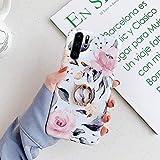 Surakey Cover per Huawei P30 Pro,Custodia Huawei P30 Pro Silicone Floreale Cover con Anello Supporto Crystal Clear Ultra Slim Morbida TPU Case Antiurto Bumper Ragazza Protettiva Cover,Fiore Rosa