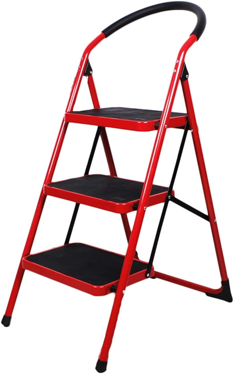 Portable Ladder Stool 3-Step Stools Easy to Store Foldable Design Ideal for Home Kitchen Garage (color   RED)