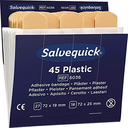 SALVEQUICK wasserabweisende Pflaster zu Pflasterspender Inhalt: 6 x 45 Stück