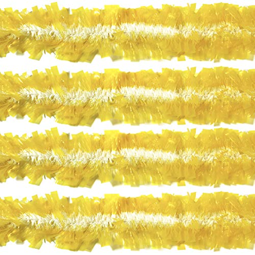Rocking Party Yellow & White Translucent Christmas Tree Tinsel Easter Flat Frayed Decoration (8 Meters)