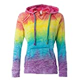 MV Sport Rainbow Women's Courtney Burnout Hooded Pullover Blend Fleece (Rainbow Stripe, Medium)…