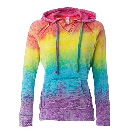 MV Sport Rainbow Women's Courtney Burnout Hooded Pullover Blend Fleece