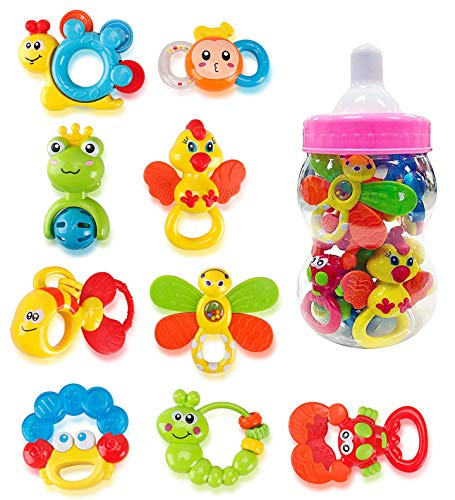 Deluxe 9 Piece Baby Rattles Teether and Shakers in Pink Milk Bottle  Grab and Spin Musical Fun Toy Gift Set  Early Educational Toys for 3 6 9 12 Month Infant Girls Newborn Toddler