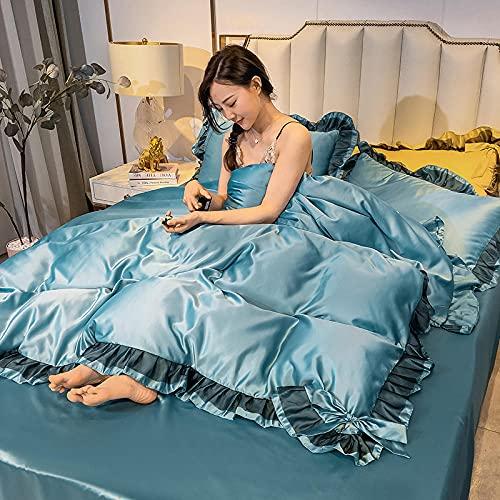 Bedding-LZ Juegos de sábanas 150,Lavado de Agua de Verano Seda Cuatro Conjuntos de la Ropa de Cama de la Princesa y la Cama de la Sombra-A_1,8 m de Cama (4 Piezas)