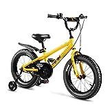 MYPNB Bicicletas niños de 16' Bicicletas niños, niños y niñas con aleación de Pata de Cabra V-Freno y Freno de Rueda Corra hacia atrás con Formación (Color : Yellow)
