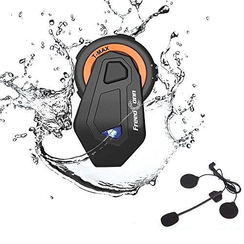 Motorrad Headsets, FreedConn Bluetooth Helm Intercom Vollduplex Sprechanlage Walkie Talkie 6 Fahrer Gruppe Intercom Communicator Headset 1000M FM Radio Voice Prompt (1 Pack)