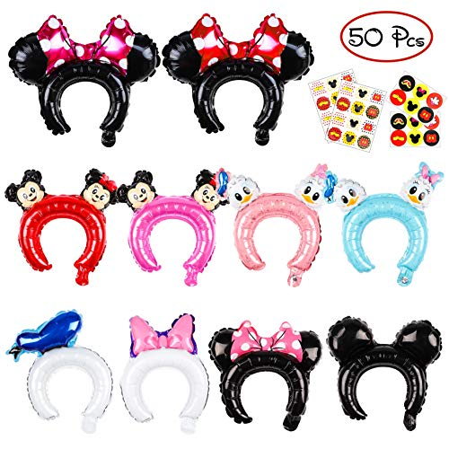 PANTIDE 50 Pcs Mickey Minnie Inflatable Headbands Cute Cartoon Balloon Hair Band Birthday Party Supplies Party Favors Party Hats for Kids &Adults