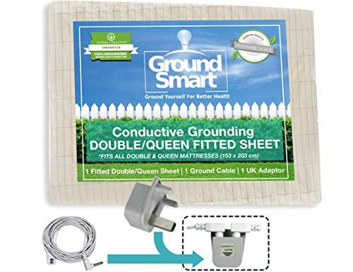 Ground Smart Earthing Half-Sheet–Universal Matte Bett-Erdung, für persönliche Erdung in der Nacht Queen Spannbetttuch für Queen-Size-Bett.