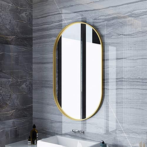 YUANJJ Ovaler Wandspiegel, Metallrahmen (Gold/Schwarz) Luxus-Badezimmerspiegel, Nordischer Moderner Stil - Kosmetikspiegel Für Schlafzimmer Flur