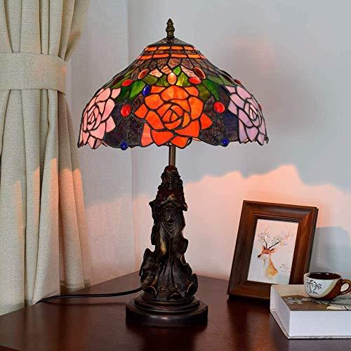 AWCVB Vintage Rose Tiffany Lámpara De Mesa Sala De Estar Sala De Estar Habitación Condominio En La Cama De La Cama