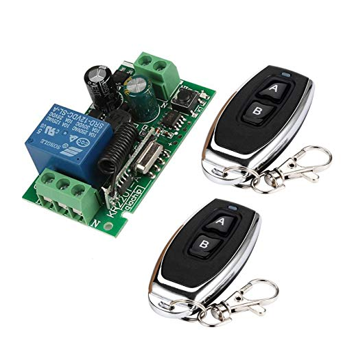 YLX Universal 433MHz AC 220V Módulo de Receptor de Interruptor de Control Remoto Inalámbrico + RF 433MHz Transmisor Mando a Distancia (2+1)