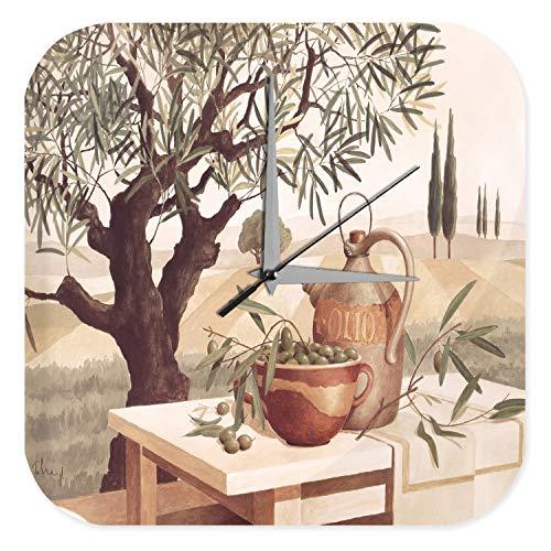 LEotiE SINCE 2004 Wanduhr mit geräuschlosem Uhrwerk Dekouhr Küchenuhr Baduhr Weltenbummler Marke Gemälde Olivenbaum Schale Dekouhr 25x25 cm