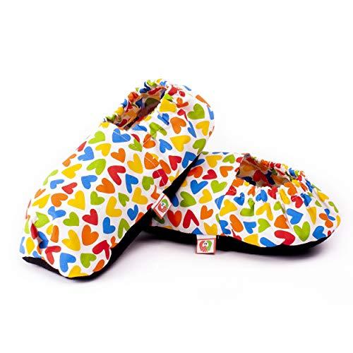 Zapatillas Térmicas de Semillas - Pantuflas Calientapiés Calentar en Microondas (Talla Única) - Bolsa de Calor para Pies Fríos con Funda Lavable, Tela de Algodón 100% y Olor a Lavanda (Corazones)