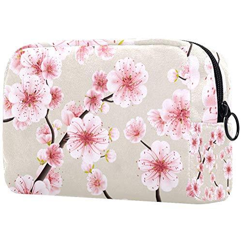 Make-up-Kosmetiktasche, nahtlos, mit rosa Sakura-Blüten, Reise-Organizer für Accessoires, Shampoo, Behälter in voller Größe, Toilettenartikel