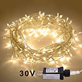 JMEXSUSS 100LED 42.6ft Indoor Fairy String Lights 30V 8 Modes Christmas Lights for Home, Christmas Tree, Wedding Party, Room,Wall Decoration, UL588 Approved (100LED, Warm White)