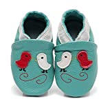 Bebila Leather Cartoon Baby Moccasins - Cute Suede Soft Sole Toddler Shoes Boys Girls First Walker Non-Slip Shoes Infant for Newborns,Crawling Slippers(6-12Months/12.5cm,Green)