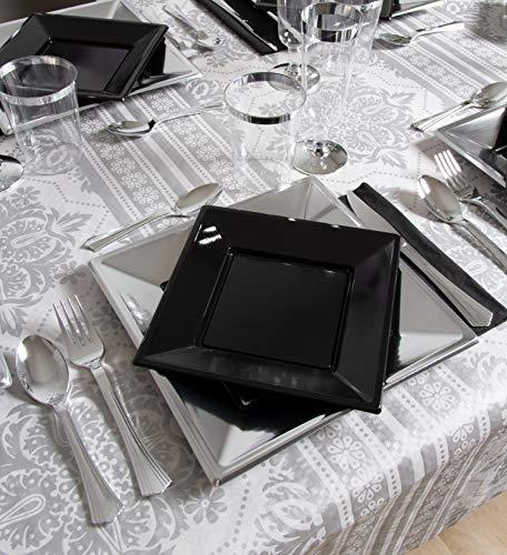 Set de Fiesta vajilla de plástico desechable Plata y Negro - 12 comensales - Colección Especial
