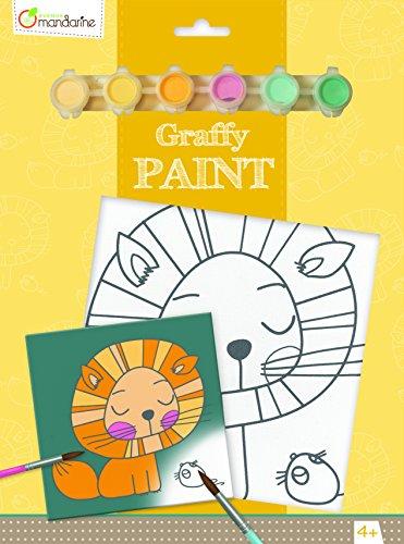 Avenue Mandarine PP010O - Un set Graffy paint comprenant un tableau 20x20 cm, un pinceau et 6 pots de peinture, Lion