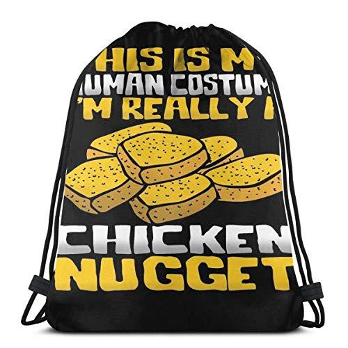 Bolsas De Cordones,Este Es Mi Disfraz Humano I 'M Really A Chicken Nugget De,Mochila Cordnes Plegable Drawstring Bolso Multiusos Bolsas con Cordn De Gimnasio para Deportes Escuela Outdoor