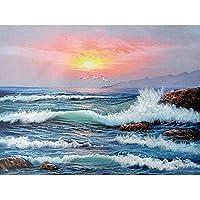 油絵数字キットによる絵画デジタル絵画油絵 数字キットによる絵画手塗りDIY絵デジタル油絵塗り絵 - 海と空 40x50cm(フレームなし)