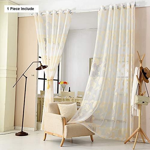 HM&DX Faux leinen Transparent Voile gardinen ösen, Ginkgo-Blatt Bestickt Fenster Vorhang Vorhang drapieren Wohnzimmer -Gold 200x270cm(79x106inch)