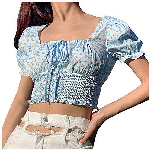 YANFANG Blusa Floral Delgada con Cuello Cuadrado y Estampado de Mariposas para Mujer,Camisas Blusas Tops Elegantes Casual Túnica Jersey T Shirt Tallas Grandes