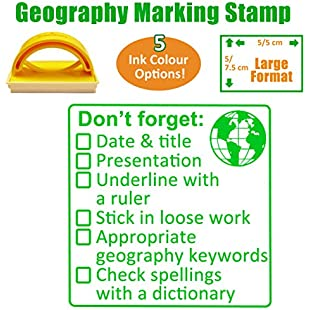 Geography Marking Teacher Stamp. Large Size (5x5cm). Checklist Mark Presentation, Spelling, History Keywords, Underline & More. Choice of Ink Colour (Green):Lidl-pl