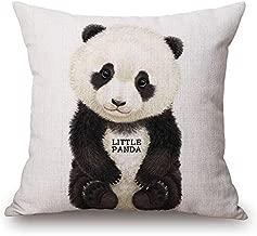 JES&MEDIS Panda Pattern Pillow Case Linen Cotton Cushion Throw Pillow Cover Square 18 x 18