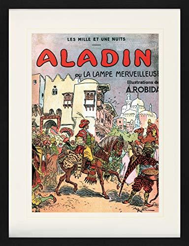1art1 Albert Robida - Aladino Y La Lampara Maravillosa, 1001 Noches Póster De Colección Enmarcado (80 x 60cm)