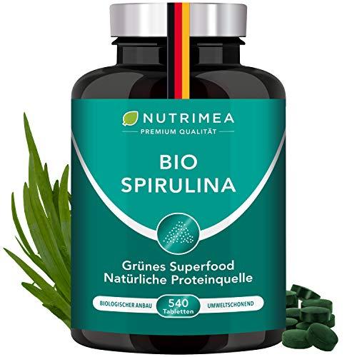 Spirulina Bio Presslinge 100% Reine Spirulina Alge OHNE Zusätze Laborgeprüft 540 Tabletten Vegan Hochdosiert 4 Monatsvorrat Superfood Phycocyanin Vitamin A B D E K Protein Immunsystem stärken