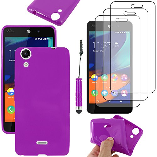 ebestStar - Coque Compatible avec Wiko Rainbow Lite 4G Etui Housse Silicone Gel TPU Souple Anti-Choc + Mini Stylet + 3 Films d'écran, Violet [Appareil: 143 x 71.2 x 9mm, 5.0'']