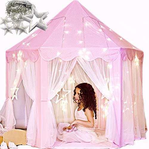 Tienda de campaña con luces grandes de estrellas para niñas pequeñas, tienda de campaña de princesa para interiores e imaginativas. Diviértete y fomenta la interacción social. Regalo para niñas de 3 a 4 a 5 a 6 7