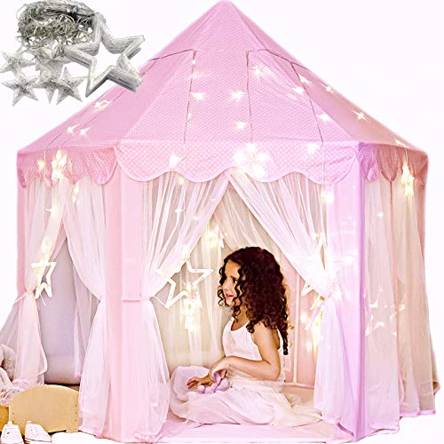 Princess Castle Play Tent with Large Star Lights. Little Girls Princess Tent Toy for Indoor. Pretend and Imaginative Play House. Have Fun, Encourage Social Interaction. Gift for Girls Age 3 4 5 6 7