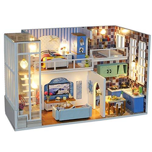 Casa de Juguete en Miniatura Miniatura con Muebles DIY de Madera Dollhouse Kit 1:24 Escala Sala Creativa para el Regalo del día de San Valentín Juguete de construcción Modelo
