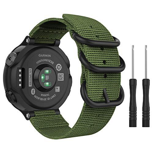 MoKo Correa Reloj para Garmin Forerunner 235/220/230/620/630 / 735XT, Pulsera de Reemplazo Ajustable de Nylón, Verde Ejército